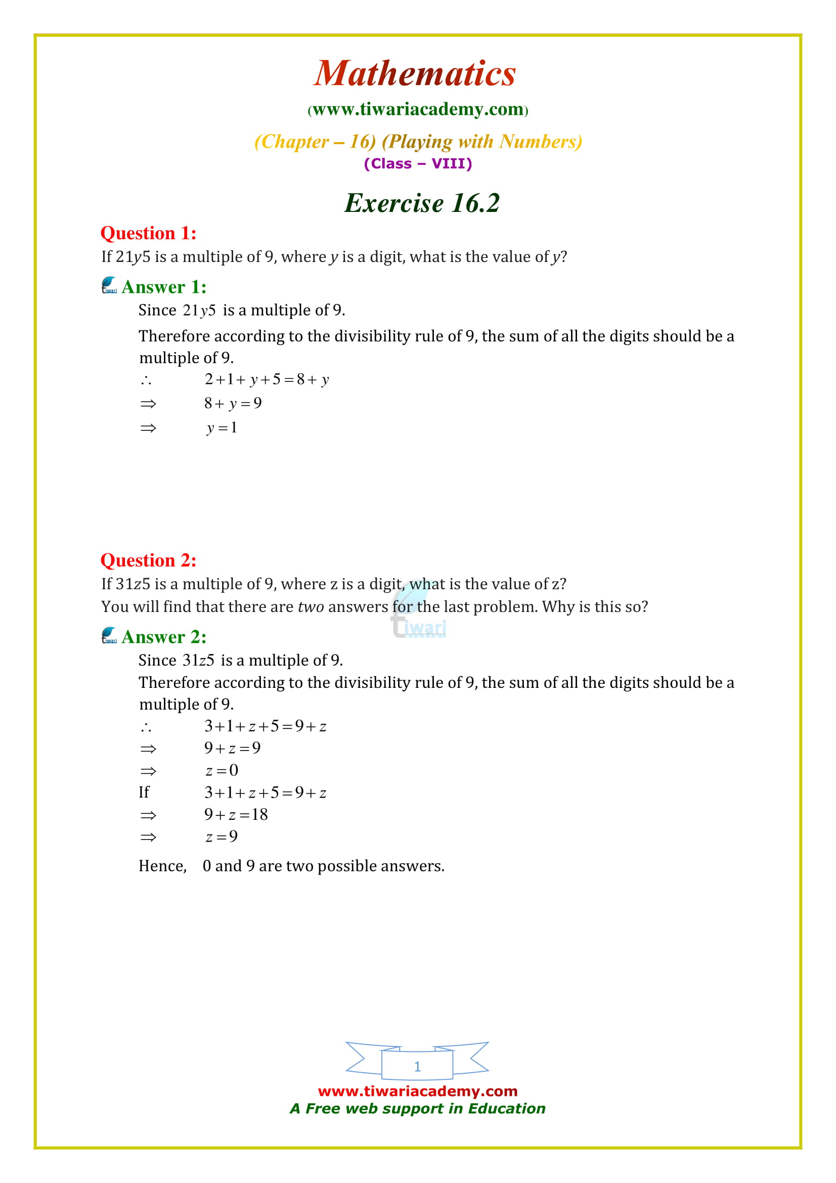 NCERT Solutions for Class 8 Maths Chapter 16 Exercise 16.2 Playing with numbers